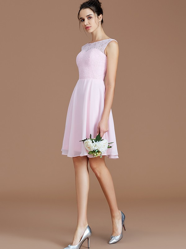 Automatic Classic Princess Style Bateau With Lace Short/Mini Chiffon Bridesmaid Dresses