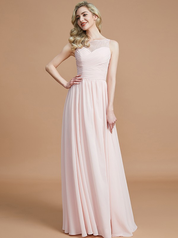 Naturally Chic Princess Style Bateau With Ruched Floor-Length Chiffon Bridesmaid Dresses