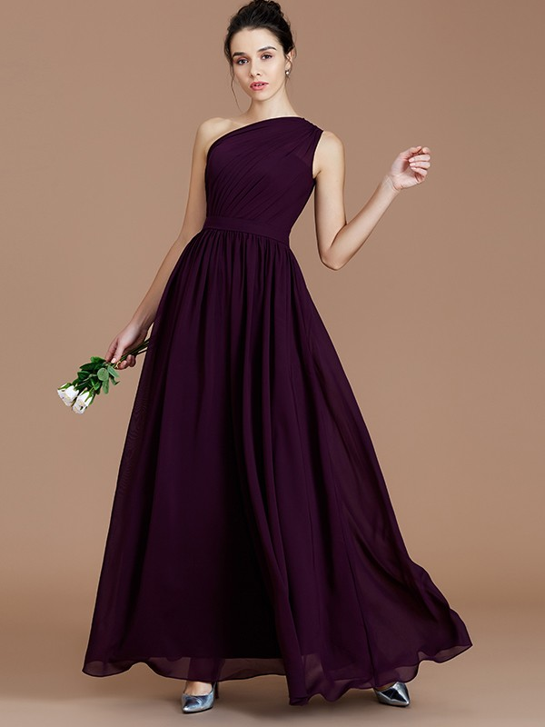 Festive Self Princess Style One-Shoulder With Ruched Floor-Length Chiffon Bridesmaid Dresses
