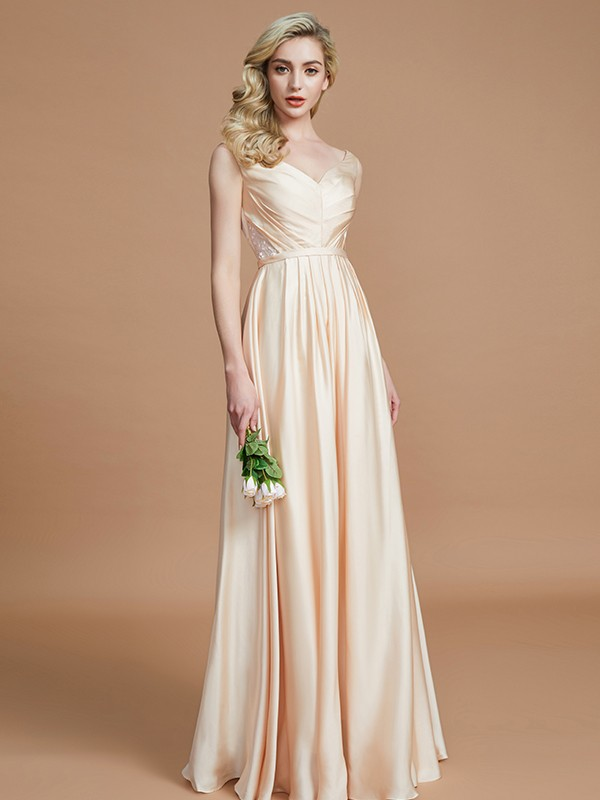 Embracing Grace Princess Style V-neck With Ruched Floor-Length Satin Chiffon Bridesmaid Dresses