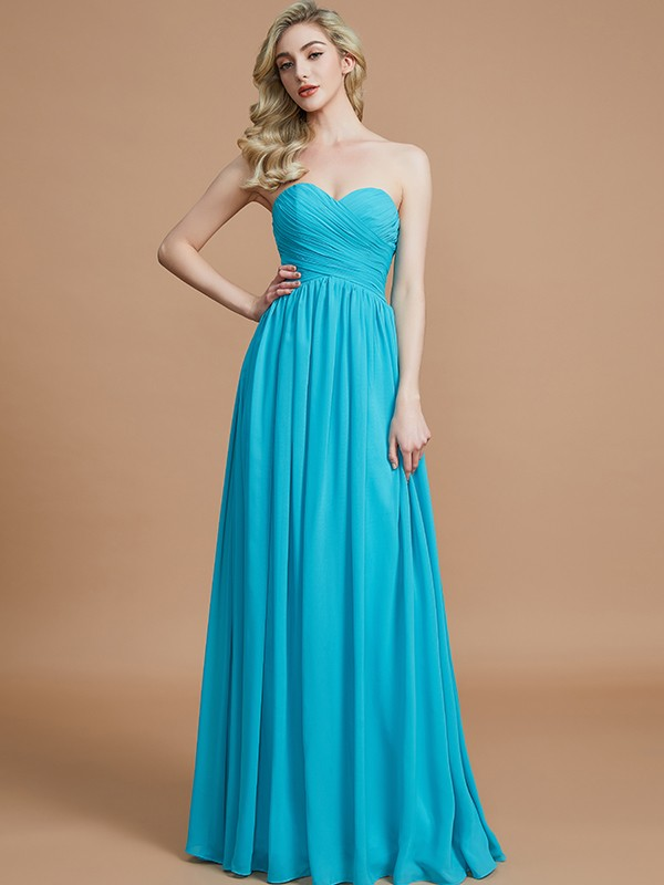 Intuitive Impact Empire Sweetheart With Ruched Floor-Length Chiffon Bridesmaid Dresses