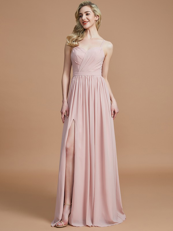 Absolute Lovely Princess Style Spaghetti Straps With Ruched Floor-Length Chiffon Bridesmaid Dresses
