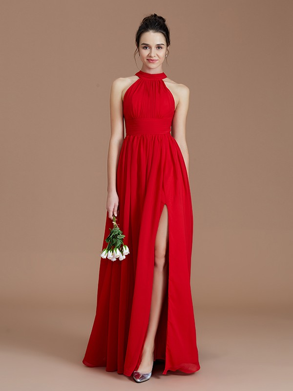 Confident Option Princess Style Halter With Ruched Floor-Length Chiffon Bridesmaid Dresses