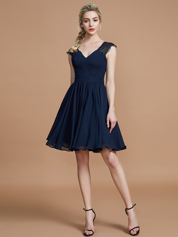 Creative Courage Princess Style V-neck Chiffon Knee-Length Bridesmaid Dresses