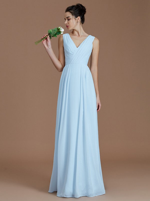 Lively Identity Princess Style V-neck With Ruched Floor-Length Chiffon Bridesmaid Dresses