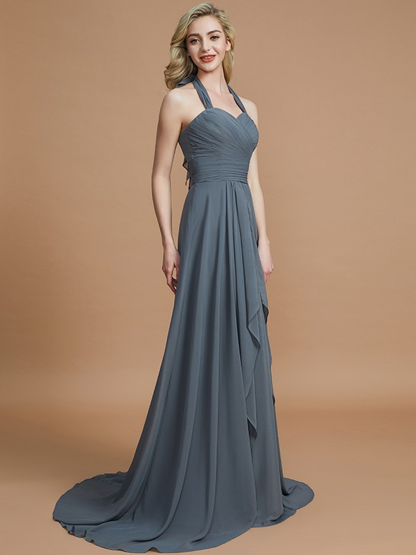 Glitz the Spot Princess Style Halter Chiffon Sweep/Brush Train Bridesmaid Dresses
