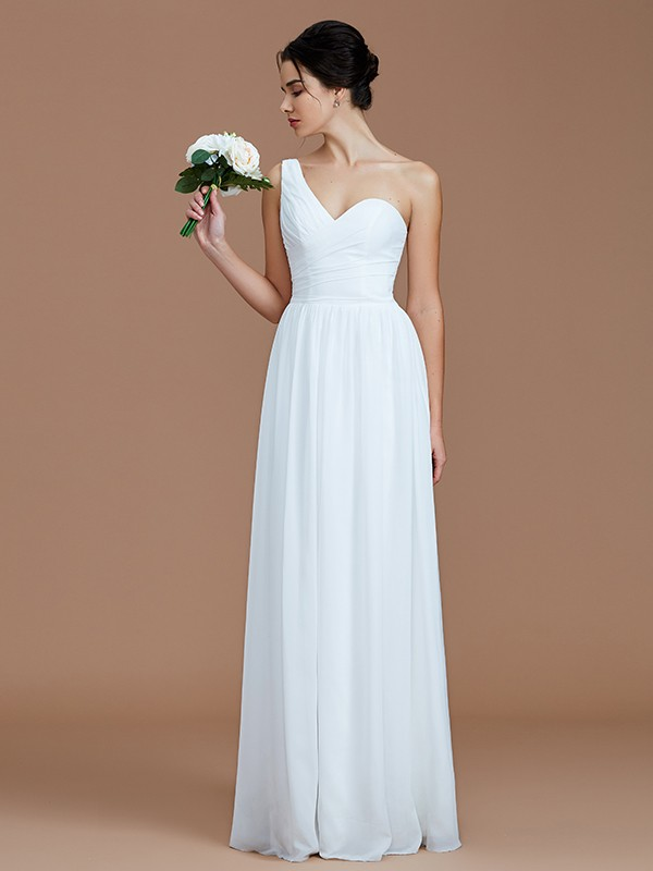 Stylish Refresh Princess Style One-Shoulder With Ruched Floor-Length Chiffon Bridesmaid Dresses