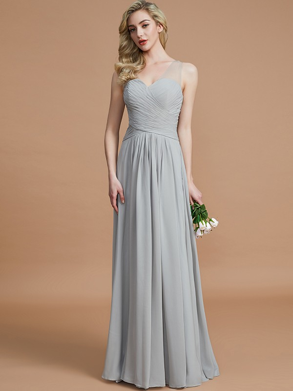 Modern Mood Princess Style V-neck Chiffon Floor-Length Bridesmaid Dresses