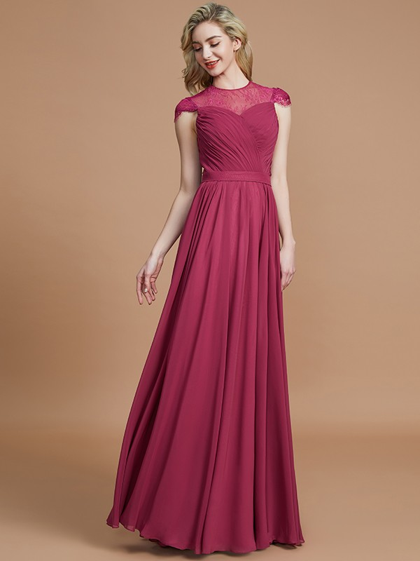 Time to Shine Princess Style Scoop Chiffon Floor-Length Bridesmaid Dresses