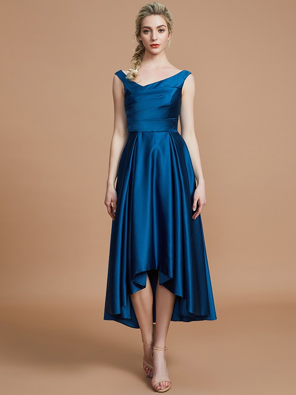 Limitless Looks Princess Style V-neck Satin Asymmetrical Bridesmaid Dresses