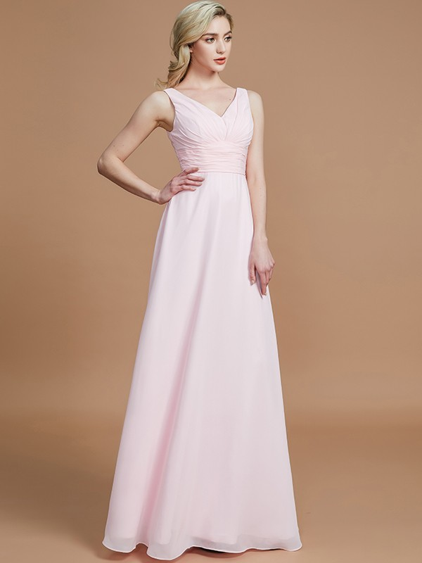 Comfortably Chic Princess Style Floor-Length Chiffon V-neck Bridesmaid Dresses