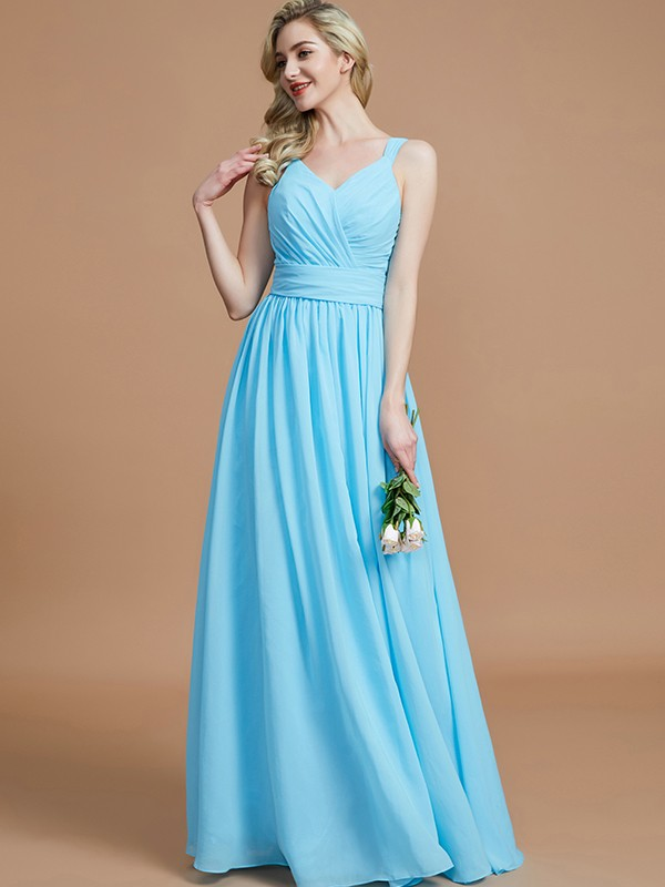 Sweet Sensation Princess Style V-neck Chiffon Floor-Length Bridesmaid Dresses