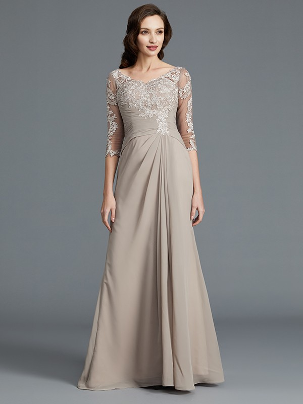 Confident Option Princess Style Scoop With Applique Chiffon Floor-Length Mother of the Bride Dresses