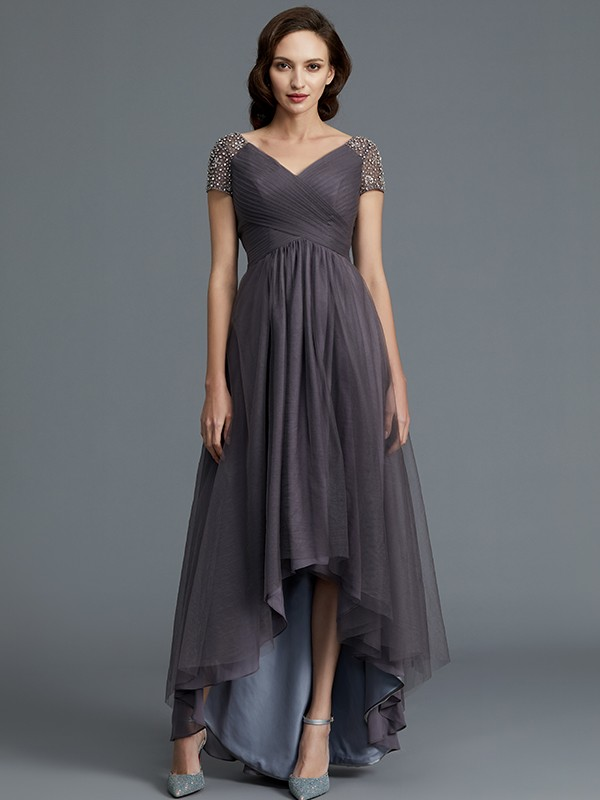 Stylish Refresh Princess Style V-neck Asymmetrical Tulle Mother of the Bride Dresses