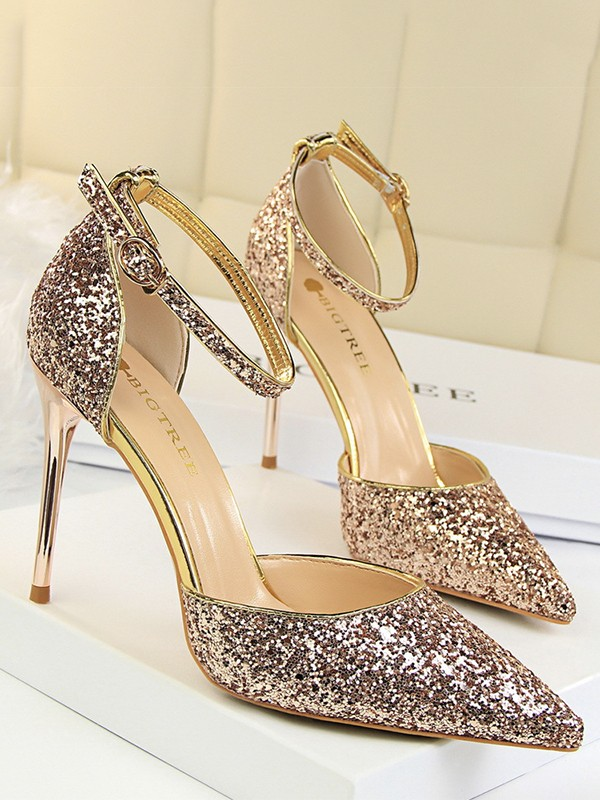 Women's Sparkling Glitter With Buckle Stiletto Heel Closed Toe Sandals
