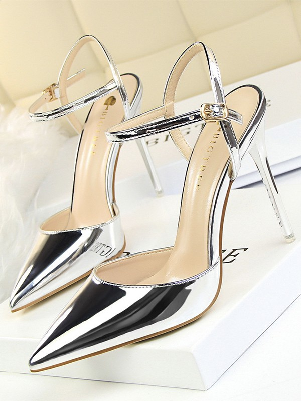 Women's Closed Toe Patent Leather With Buckle Stiletto Heel Sandals