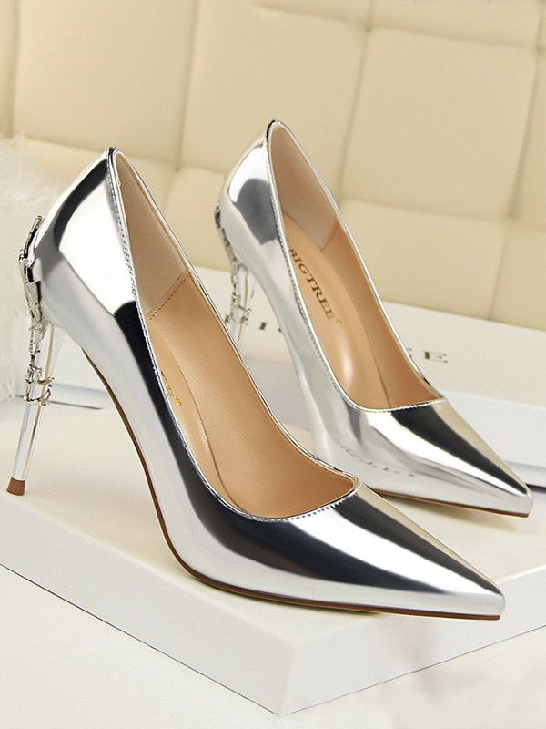 Women's Stiletto Heel Closed Toe Patent Leather High Heels