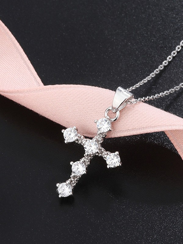 Classic S925 Silver With Rhinestone Necklaces For Ladies