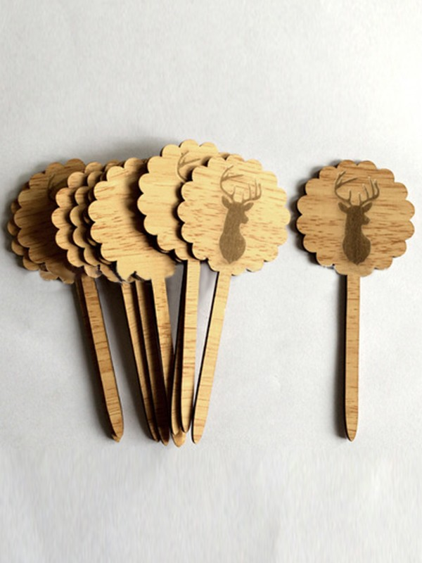 Fancy Wooden Cake Topper(10 Pieces)