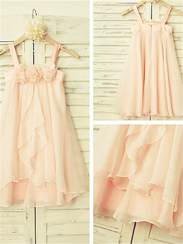 Modern Mood Princess Style Spaghetti Straps Ruffles Tea-Length Chiffon Flower Girl Dresses
