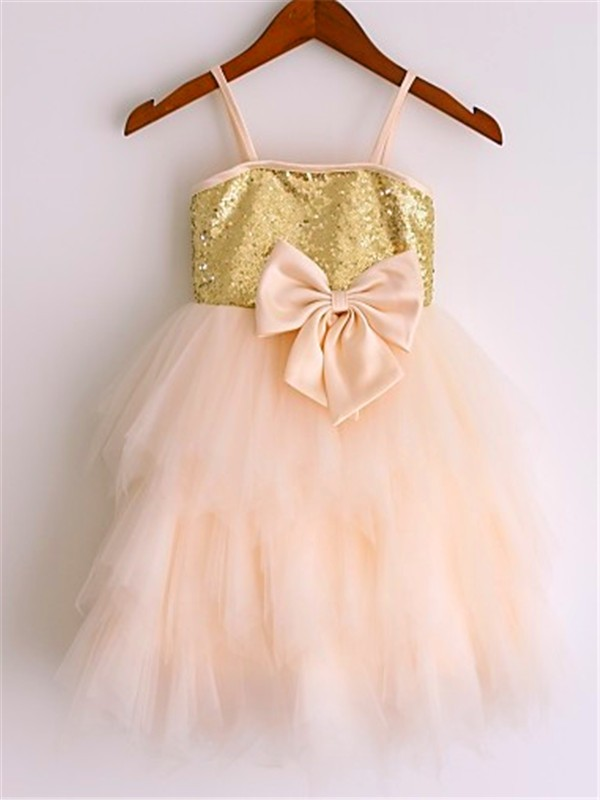 Visual Moment Princess Style Spaghetti Straps Sequin Tea-Length Net Flower Girl Dresses