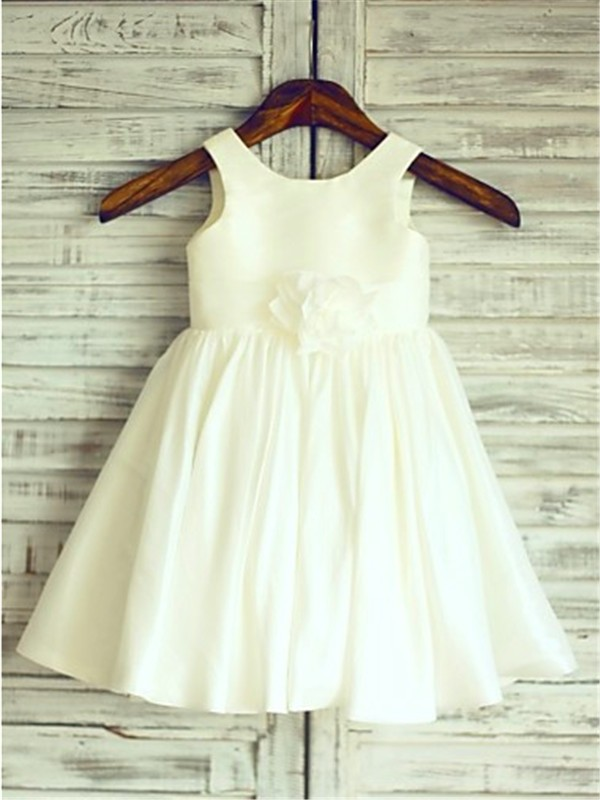 Defined Shine Princess Style Scoop Hand-made Flower Tea-Length Chiffon Flower Girl Dresses