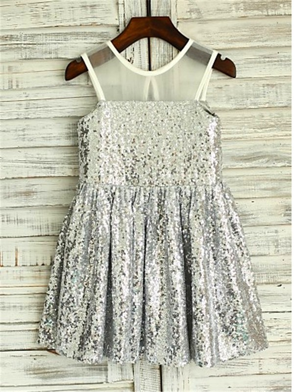 Befits Your Brilliance Princess Style Scoop Tea-Length Sequins Flower Girl Dresses