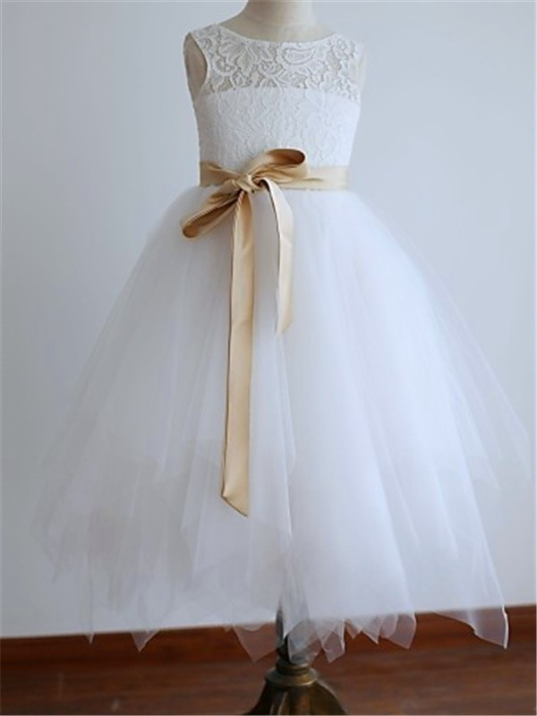 Just My Style Princess Style Scoop Sash/Ribbon/Belt Ankle-Length Tulle Flower Girl Dresses