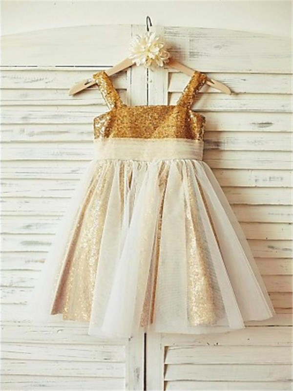 A-line/Princess Spaghetti Straps Sleeveless Ruffles Floor-Length Sequins Flower Girl Dresses