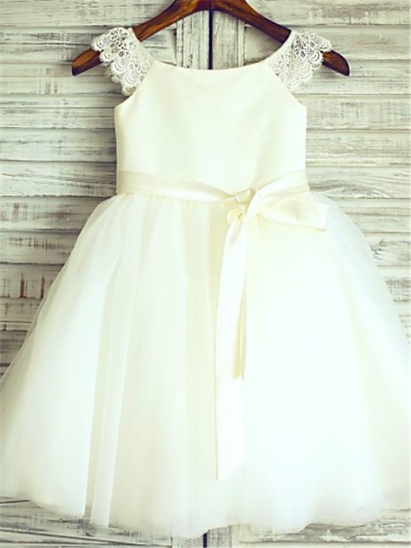 Naturally Chic Princess Style Scoop Sash/Ribbon/Belt Knee-Length Tulle Flower Girl Dresses