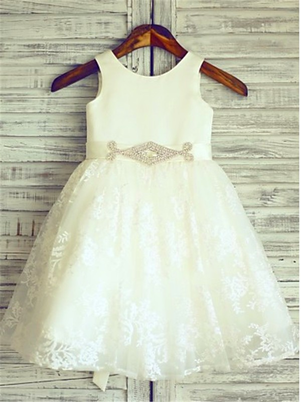 Befits Your Brilliance Princess Style Scoop Sash/Ribbon/Belt Knee-Length Lace Flower Girl Dresses