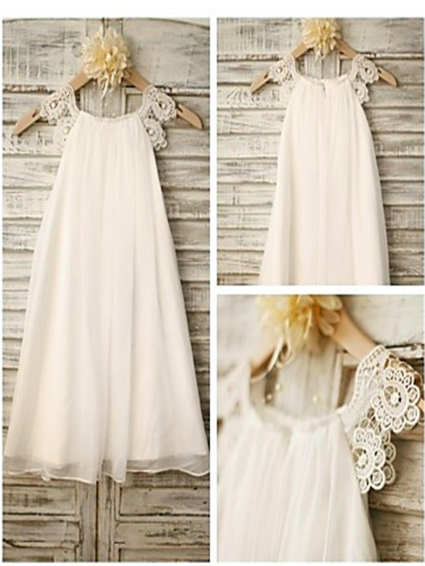Modern Mood Princess Style Scoop Lace Tea-Length Chiffon Flower Girl Dresses