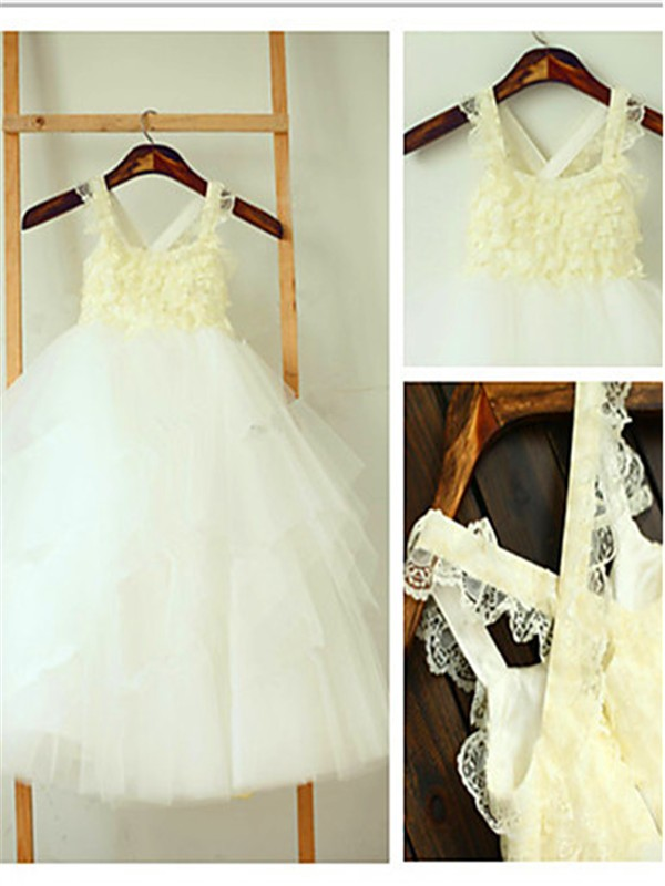 Glitz the Spot Ball Gown Square Layers Tea-Length Tulle Flower Girl Dresses