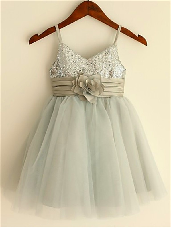 Limitless Looks Princess Style Spaghetti Straps Sequin Tea-Length Tulle Flower Girl Dresses