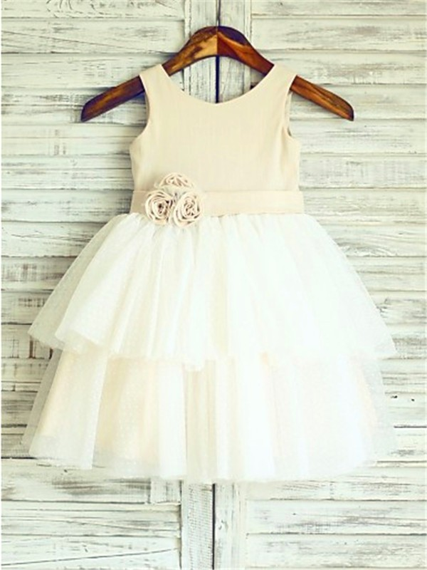 Cordially Delighted Princess Style Straps Hand-made Flower Tea-Length Tulle Flower Girl Dresses