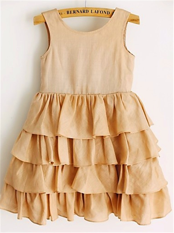 A-line/Princess Scoop Sleeveless Layers Tea-Length Chiffon Flower Girl Dresses