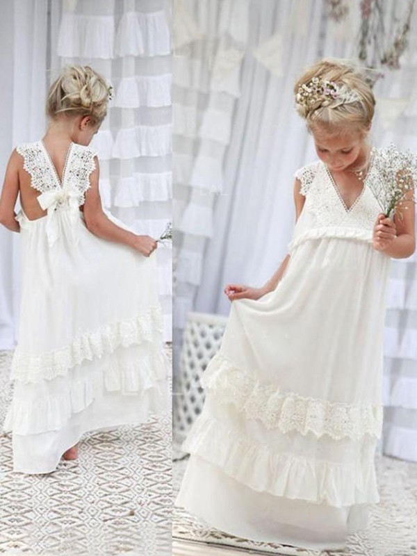 Memorable Magic Empire V-neck Floor-Length Lace Chiffon Flower Girl Dresses