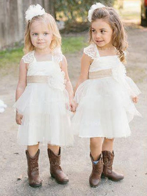 Just My Style Princess Style Square Knee-Length Sash/Ribbon/Belt Tulle Flower Girl Dresses