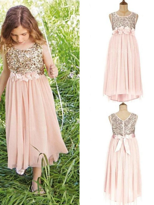Defined Shine Princess Style Scoop Asymmetrical Sequin Chiffon Flower Girl Dresses