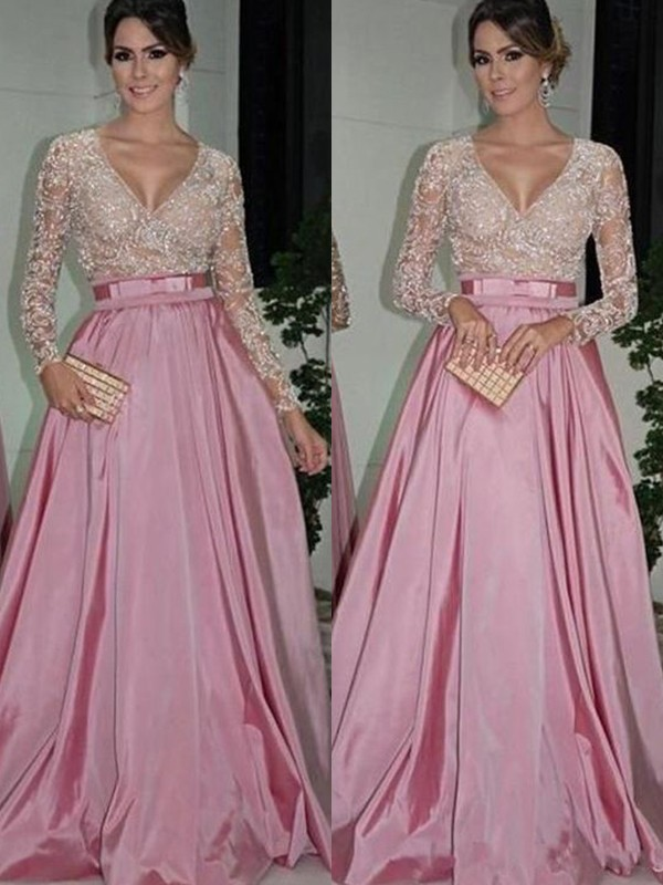 Cordially Delighted Princess Style V-neck Floor-Length Lace Satin Dresses