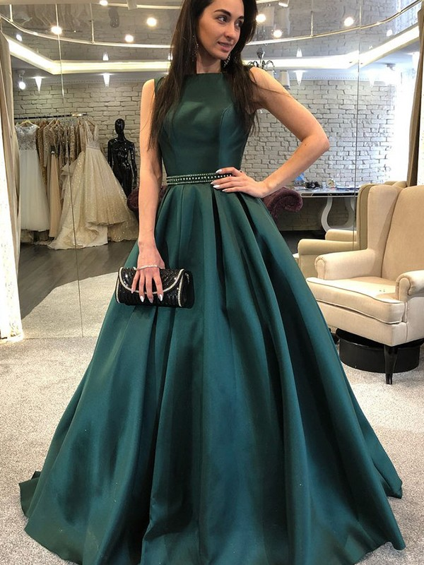 Styled to Smile Princess Style Bateau Sweep/Brush Train Beading Satin Dresses