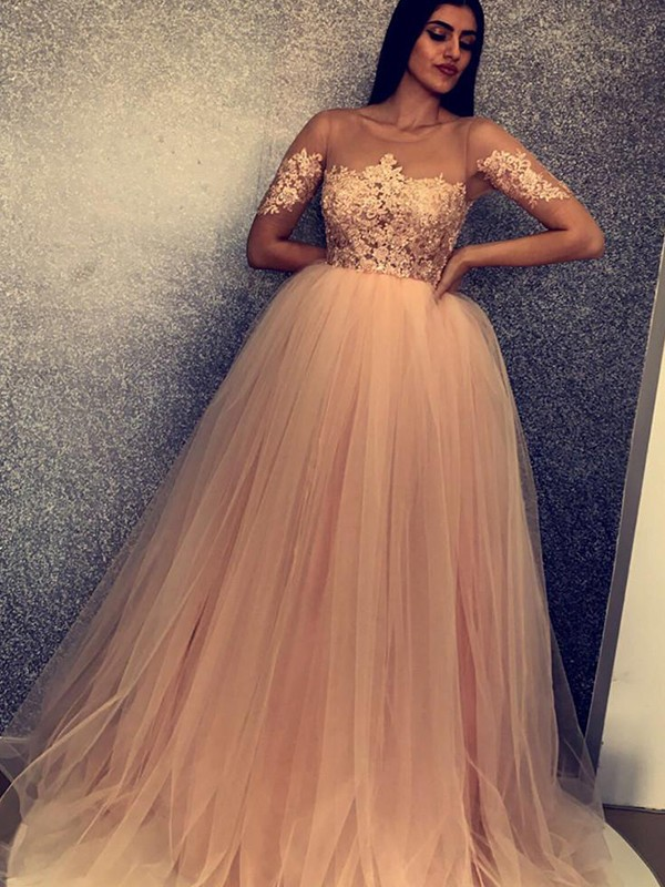 Open to Adoration Ball Gown Scoop Sweep/Brush Train Applique Tulle Dresses