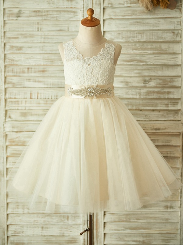 Cute A-Line Knee-Length Scoop Lace Tulle Flower Girl Dresses