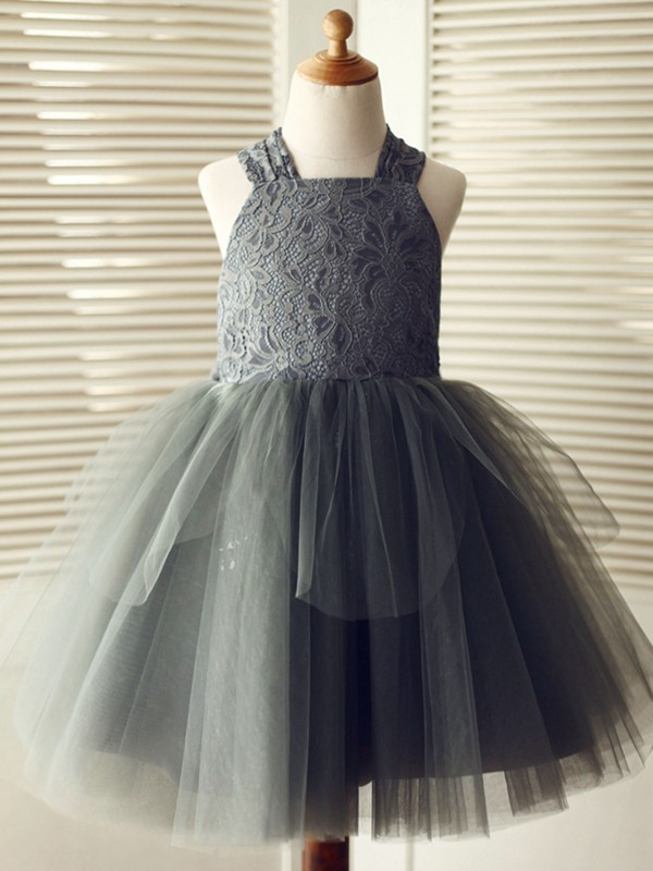 Sweet A-Line Knee-Length Straps Lace Tulle Flower Girl Dresses