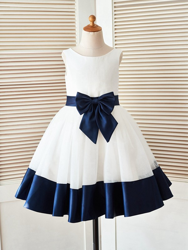 Sweet A-Line Knee-Length Scoop Bowknot Satin Flower Girl Dresses