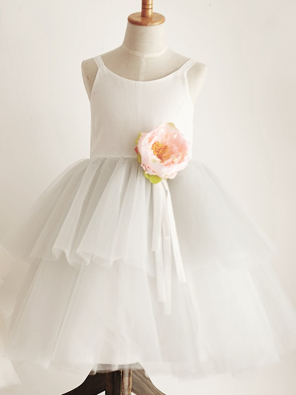 Lovely A-Line Tulle Hand-Made Flower Scoop Knee-Length Flower Girl Dresses