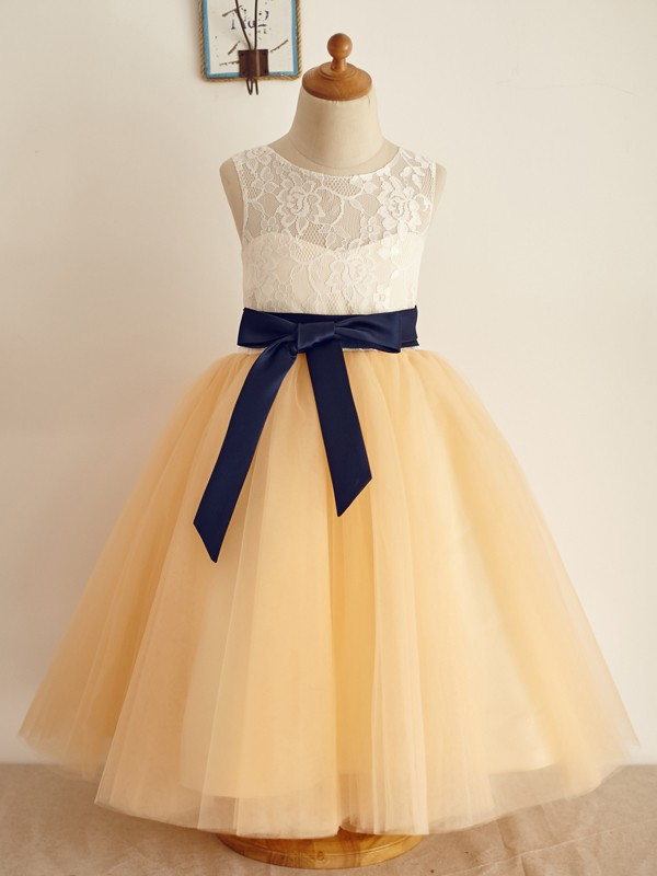 Lovely A-Line Tulle Bowknot Scoop Floor-Length Flower Girl Dresses