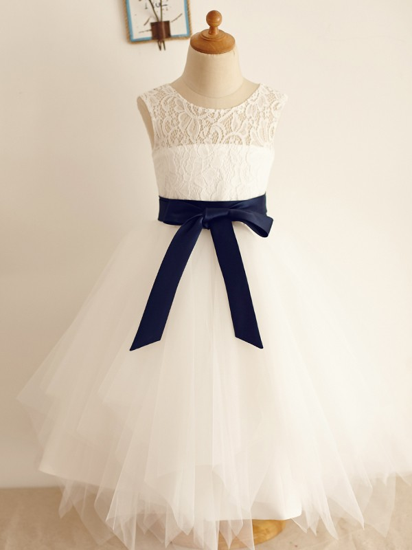 Lovely A-Line Tulle Bowknot Scoop Tea-Length Flower Girl Dresses