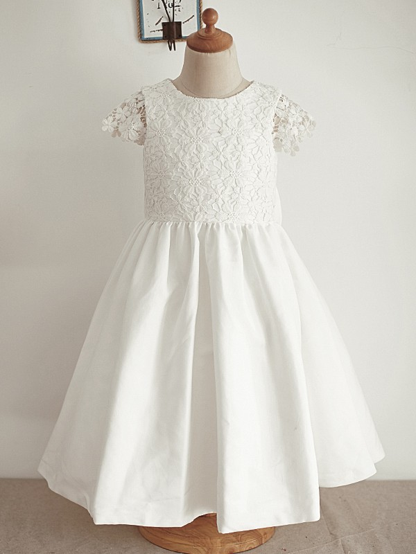 Lovely A-Line Lace Sequin Scoop Knee-Length Flower Girl Dresses