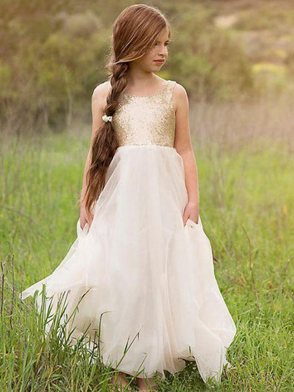 Desired Spotlight Princess Style Scoop Floor-Length Sequin Tulle Flower Girl Dresses